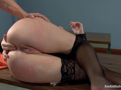 A hot lawyer gets dominated and viciously fucked by her client