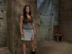 A booming ebony teen squirts in her first bondage scene