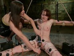 A cutie worships her mistress in electrified bondage