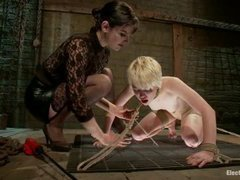 A doll faced blonde double penetrated with electrified toys