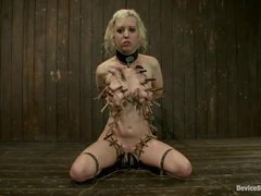 Cherry Torn gets covered with tight clamps and throat fucked