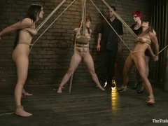 Legendary mistress Claire Adams tests five lesbian slave trainees