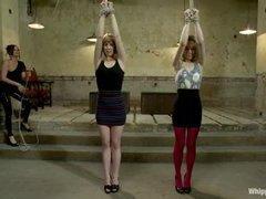 Two gorgeous mistresses push two lesbian sluts to the limit