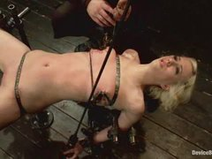 Cherry Torn takes intense nipple torture in metal bondage