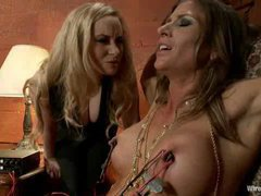 A dazzling slut punished by her stunning lesbian pimp