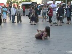 A lusty Spanish chick jerks off strangers and gets fucked in the street
