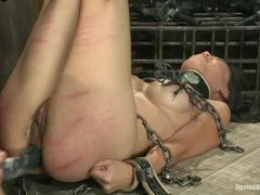 A busty asian slut gets her ass stretched by fingering and strap-on fucking