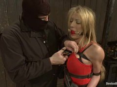 A squirting blonde gets her tight ass violated in metal bondage
