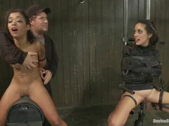 Two nasty sluts receive extreme orgasms from the sybian and fucking machine