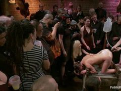 A submissive girl gets her ass pumped with water, fisted and fucked hard