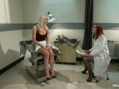 A kinky lesbian blonde dominates her gynecologist with electricity