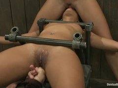 Two sluts connected with a tight zipper to take a rough machine fucking