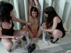 A cute girl gets tormented by two sexy bitches to get accepted to the private club