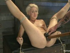 A submissive blonde gets tested after five days of training