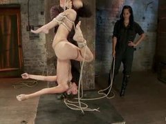 A flexible girl gets her nipples clamped and made to cum in a tough category 5 suspension