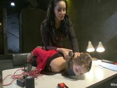 A ravishing girl gets mercilessly punished with electro play for smoking at work