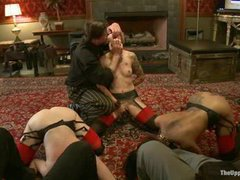 A sizzling slave girl takes ruthless punishment while other two are pleasuring kinky male guests