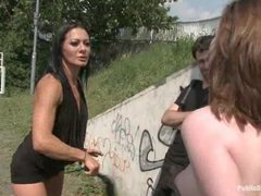 A great public scene with an amateur girl wishing to be a star - crazy action!