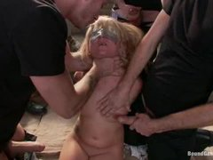 a petite blonde cutie with natural tits gets pounded by SIX guys