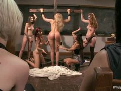 FIVE gorgeous women make a lesbian domination party with crucifixion