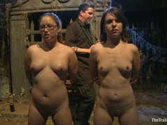 Two slave girls are trained at a time and tested for pain tolerance