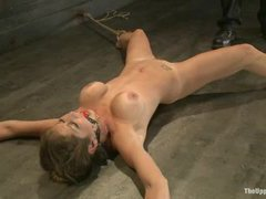 Felony is tied up and fucked with a dildo till she cums through pain