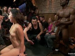 a beautiful asian girl is humiliated and brutally fucked in a crowded bar