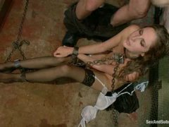 this elegant blonde with gorgeous long legs in stockings is severely fucked up