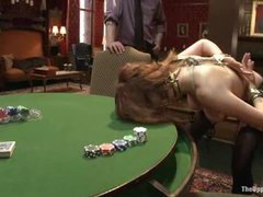 quite interesting poker play session with degrading house slaves