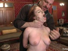 house slaves in a quite active action with their pussies open, tits tormented and hot bodies spanked and used