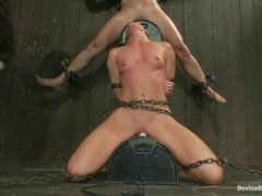 two girls get tormented with bondage devices and brought to orgasms