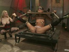 a cute slut gets caught by a lesbian Mistress and fucked variously