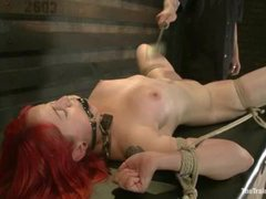 a redhead foxie is passing a slave exam