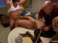 a gorgeous blonde brutally gangbanged by several guys