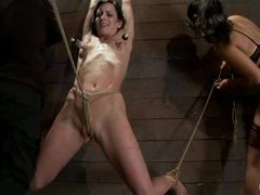 A tough hottie tickled in a category 5 crotch suspension