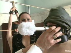Slave girls cleaning toilets during kinky domestic service