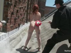 A redheaded slave trainee learns all ways of cock pleasing