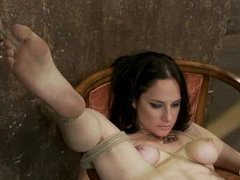 A sizzling brunette cums repeatedly from brutal foot caning