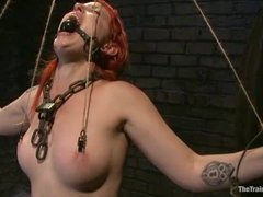 A redheaded trainee gets her endurance and cock sucking skills tested