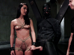 Babe enjoys pure pleasure and rough punishment during her slave training session