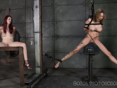 Mature brunette and redhead are screaming wildly from their cathartic punishment