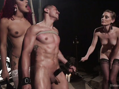 Latin stud serves sexy redhead ebony and hot blonde mistress faithfully