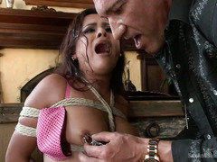 Horny stud is taking advantage of a petite latino babe during a dirty deal