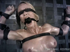 Dreadful electro shock punishment for fearful and crying mature blonde babe