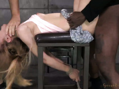 Atrocious deepthroating and rough pussy banging for lovely blonde sweetheart