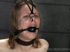 Mature babe gets her nose hooked like an animal as part of her painful punishment
