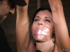 Attractive dark-haired beauty is moaning wildly from master's persistent punishment