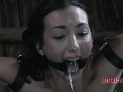 Tormenting water punishment for bounded and gagged dark-haired beauty