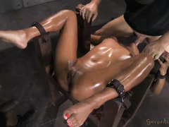 Hot redhead ebony gets her tight pussy pounded while getting rough deepthroating
