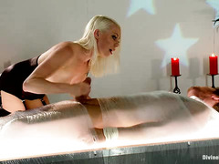 Sultry blonde mistress gives handsome stud slave extreme cock punishment